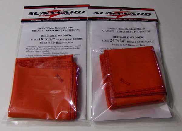 NOMEX Orange 6.5oz Flame Resistant Wadding Chute Protectors for Rockets
