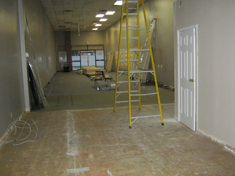 Inside store during setup and construction